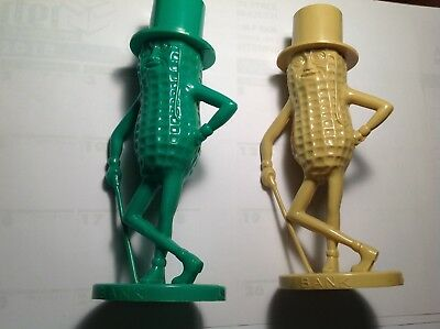 """Two Mr. Peanut Planters Advertising Coin Bank 8 1/2"""" Plastic-Never Displayed"""