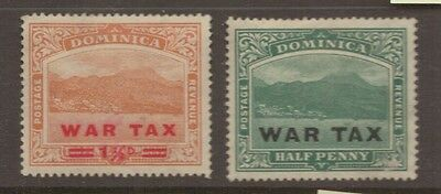 1918-19 Dominica WAR TAX Overprinted MH Stamps