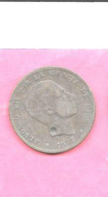 Spain Spanish Km675 1877 10 Centimos Vg-Good-Nice Old Antique Large Coin