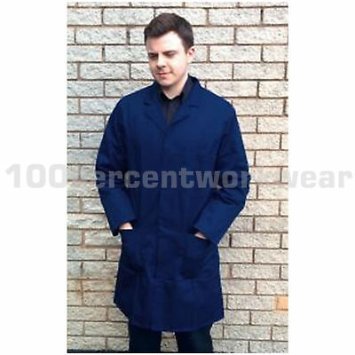 Size XL Warrior Mens Navy Blue Polycotton Lab Coat Warehouse Laboratory Smock