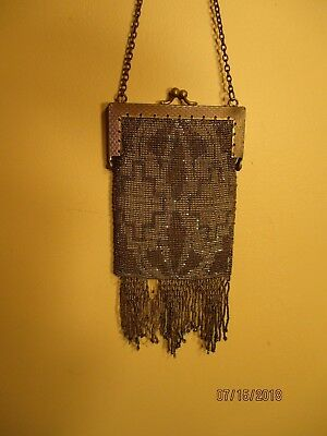 antique French cut steel beaded purse made in France late 1800's