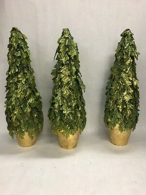 VINTAGE 3 Christmas trees table top green gold gilt 19 inch tall sparkle resin