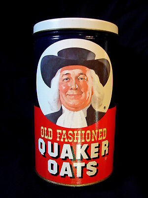 1982 Vintage 7.75' Tall Reproduction Collector's Tin Old Fashioned QUAKER OATS