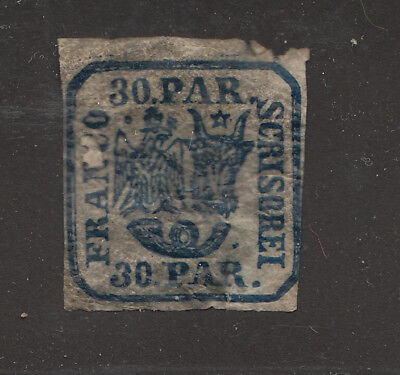1862  early Romania Moldavia 30 pa blue on thin paper much Original gum