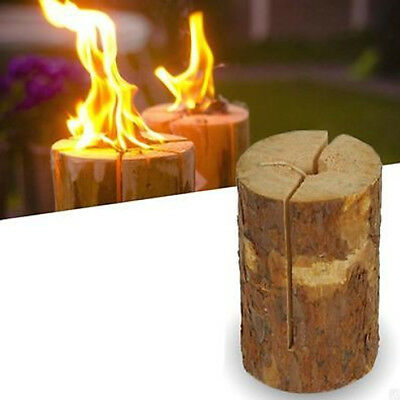 20cm Wooden Fire Log Swedish Candle Torch Burner Garden Party Camping Campfire