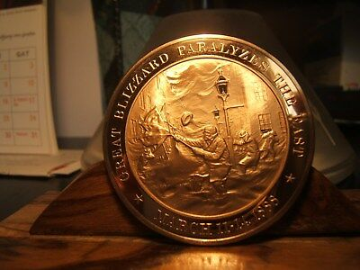 1888 GREAT BLIZZARD PARALYZES THE EAST     -   Proof Bronze Medal  SUPER NICE