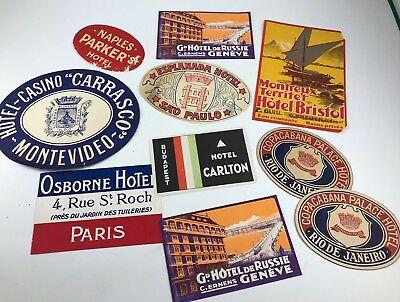 Lot Of 10 Antique/vintage Hotel Travel Luggage/baggage Tags