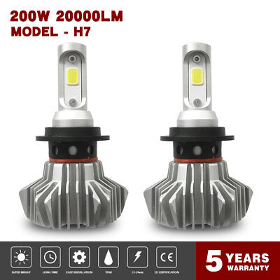 20000LM  200W H7 Fanless LED Car Headlight Bulbs Conversion Beam 6500K Lamps 1FP