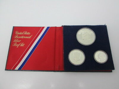 1776 - 1976 Bicentennial Silver Proof 3 Coin Set United States Mint