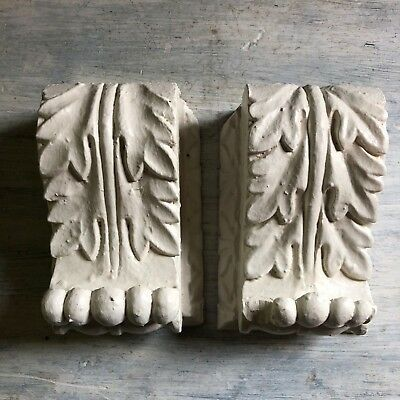 Two(2) Shabby Antique 1890's Wood Corbels Brackets Church Montreal White 376-18