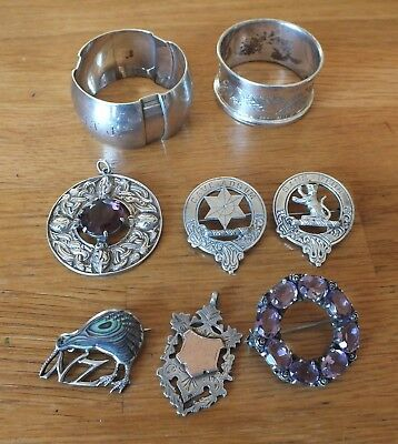 Selection Of Scottish Silver Jewellery And Napkins