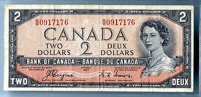 Canada ~ 1954 ~ $2 Two Dollar Nore ~ Devils Hair Variety ~ F