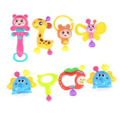 8Pcs Newborn Baby Lovely Hand Jingle Shaking Bell Ring Rattles Baby Toy FG