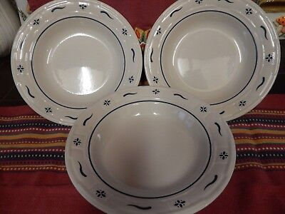 Lot Of 3 Longaberger Usa Blue Woven Traditions Soup Bowls Good Condition