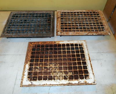 """Vintage Iron Floor / Wall Grates 14"""" X 11"""" Lot Of 3"""
