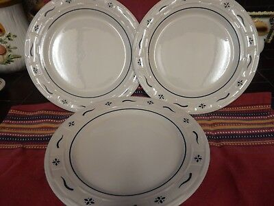 Lot Of 3 Longaberger Blue Woven Traditions Dinner Plates Usa Great Condition