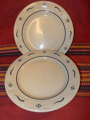 Lot Of 2 Longaberger Blue Woven Traditions Usa Salad Luncheon Plates Great