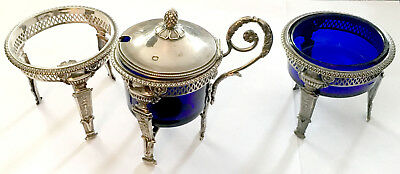 Antique French Empire Sterling & Cobalt Salt Cellar & Mustard Pot Trio