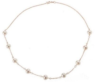 "Honora 14K Yellow Gold White Cultured Pearl Polished 16"" Station Necklace Qvc"