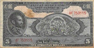 STATE BANK OF ETHIOPIA $5 DOLLARS NOTE 1945 P-13b