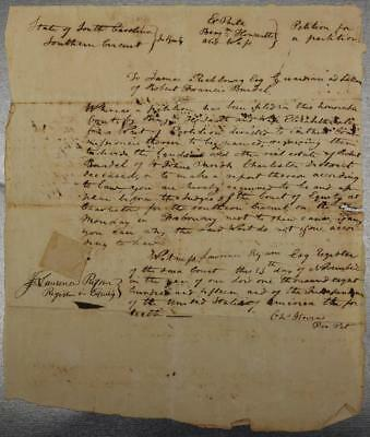 1815 Charleston South Carolina Document Petition to Partition Land Richbourg
