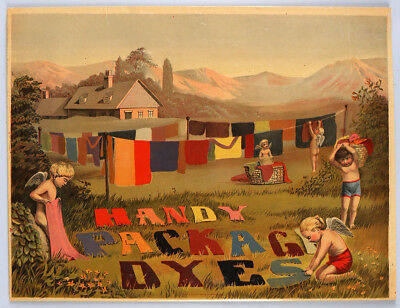 Vintage c. 1890s Whimsical Folk Art Handy Package Dyes Cupids Advertising Poster