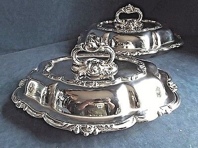 "SUPERB Pair ORNATE 12"" ~ SILVER Plated ~ SERVING DISHES ~ c1900 by Alex Clarke"