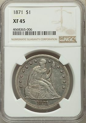 1871 US Seated Liberty Silver Dollar $1 - NGC XF45