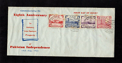 Pakistan - 1955 - Independence - First Day Cover - With Cds Flag Postmarks