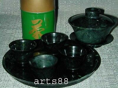 GREEN NEPHRITE JADE TEA Set and Accessories lot of  8 Pieces Set