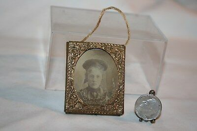 Miniature Dollhouse Antique Tintype Photo Young Lady in Civil War Era Frame 1:12