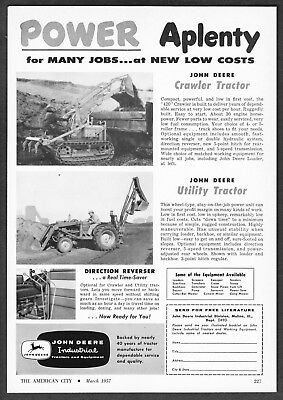 1957 John Deere 420 Crawler Tractor & Utility Tractor photo vintage print ad