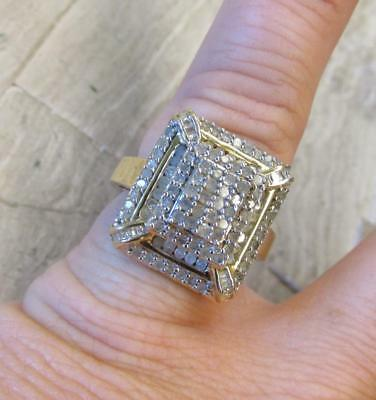 2.0ctw Diamond / Sterling Silver Gold Plated Cocktail Ring ~ 8.8grams ~ 8-H7545