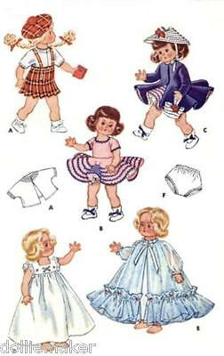 "Ginny Doll Vtg Clothes Pattern  Fits 8"" Dolls Dress Peignoir Coat Hat And More"