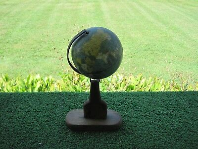 Vintage 1940s or Older Ohio Art Co. Metal World Earth Globe on Wood Stand