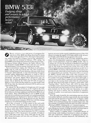 1983 BMW 533i Sedan Road Test Technical Data Review Article