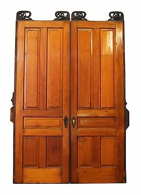 Pair of Pine Double Pocket Doors With Raised Panels