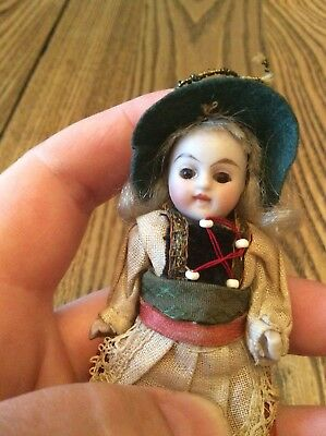 Antique dollhouse doll Miniature Girl Brown glass eyes closed mouth Jointed