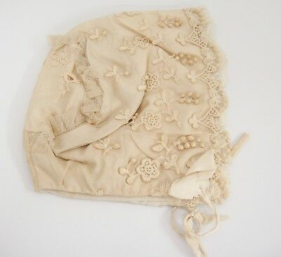 Antique Baby Bonnet Hat Lace Trim Netting Overlay Applied Fancy Needlework Sweet