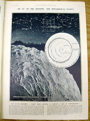 1929 illustrated newspaper w poster showing mysterious PLANET X - possibly PLUTO