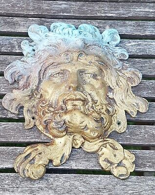 Vintage Brass Bacchus Dionysus Plaque Clock Furniture Door 18cm Ornament Antique
