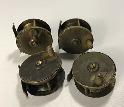 "4 Vintage Antique Brass 2½"" Trout Fly Fishing Reels - Job Lot Set"