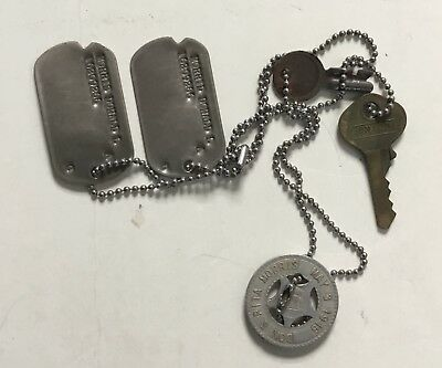 Set of Identification Tags (Dog Tags) with Locker Keys & Lucky Charm