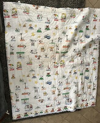 Vintage 1971 US Cities Peanuts Snoopy Charlie Brown Comforter Pillow Sham Set
