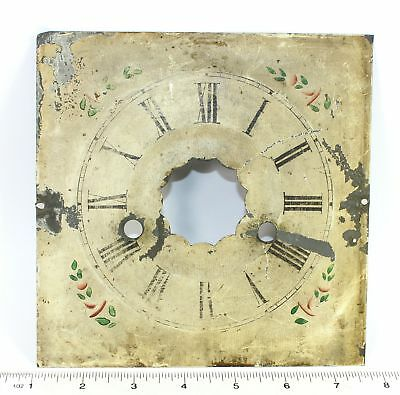 "Antique Painted Metal Clock Dial 6-5/8"" Square- Ll130"