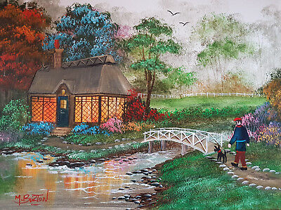 Mal.burton Original Art Oil Painting    Over The Bridge And Home Boy