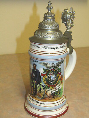 1906 German Hand Painted Stein With Lithopane Man On Bicycle