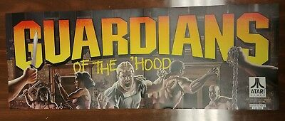 "GUARDIANS OF THE HOOD ATARI  VINTAGE 23 1/2-8.75"" arcade game sign marquee"