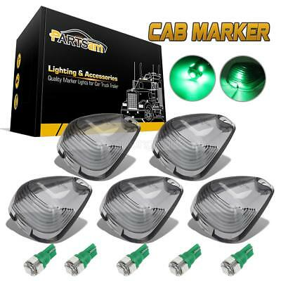 5pc Smoke Clearance Cab Marker Light Lens+T10 194 5050 Green LEDs for 99-16 Ford