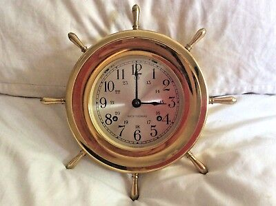 Vintage Seth Thomas Helmsman Nautical Brass Maritime Ships wall Clock Antique